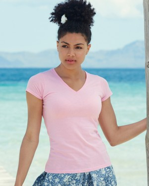 Fruit of the Loom Lady V-neck Fitted T-shirts